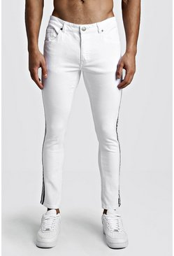 White Skinny Fit Jeans With Side Tape
