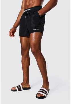 Man Waistband Short Length Swim Short, Black nero