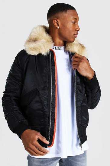 Black Padded MA1 Bomber With Faux Fur Collar
