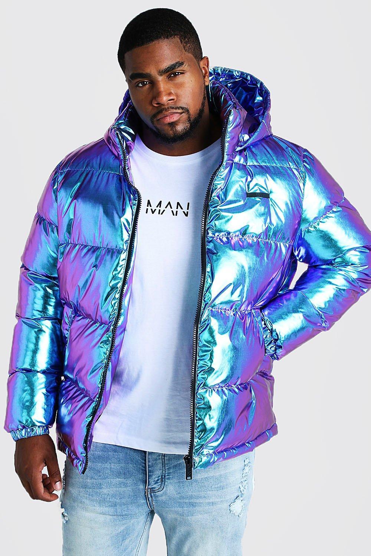 Große Größen Wattierte Jacke in Metallic Optik | boohooMAN