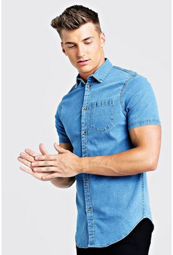 Mid blue blue Short Sleeve Denim Shirt In Muscle Fit