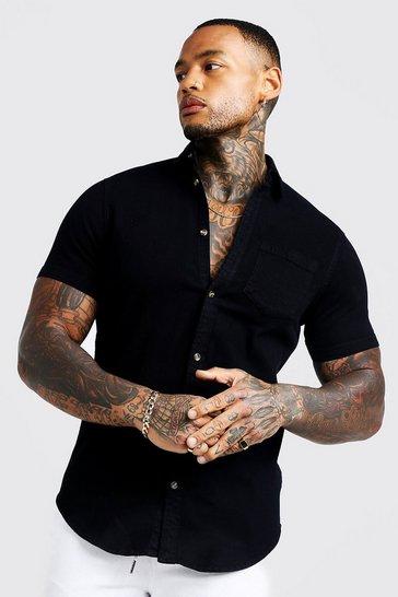 Black Short Sleeve Denim Shirt In Muscle Fit