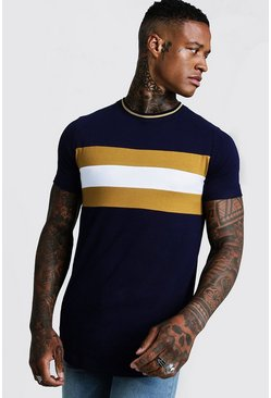 Mustard yellow Longline Colour Block Muscle Fit Tee