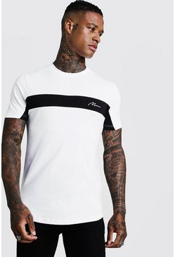 White Man Signature Colour Block Muscle Fit T-Shirt