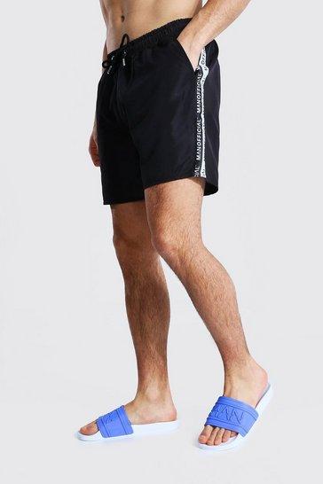 Black Man Tape Mid Length Swim Short