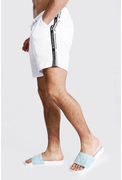 Man Tape Mid Length Swim Short, White blanc