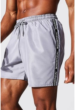 Man Tape Mid Length Swim Short, Grey gris