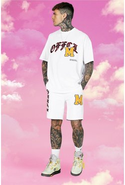 Oversized Official Varsity Tee and Short Set, White blanco