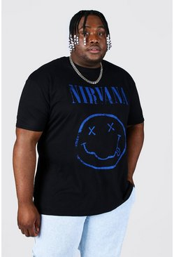 Black Plus Size Nirvana Distressed License T-shirt