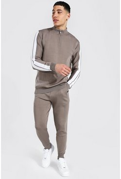 Stone beige Funnel Neck Stripe Jogger Set