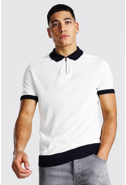 Ecru white Spliced Quarter Zip Polo