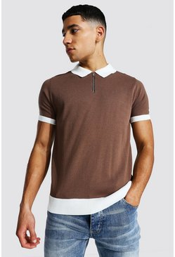 Chocolate brown Spliced Quarter Zip Polo
