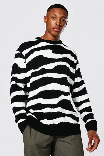 Black Oversized Abstract Stripe Knitted Jumper