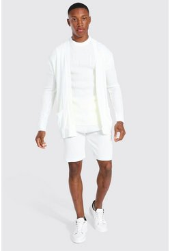 Ecru white Ribbed 3 Piece Set With Woven Tab