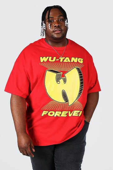 Red Plus Size Wu-tang Forever License T-shirt