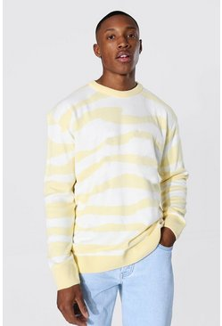 Lemon yellow Oversized Abstract Stripe Knitted Jumper