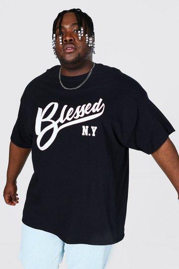 Black Plus Size Blessed Slogan Print T-shirt