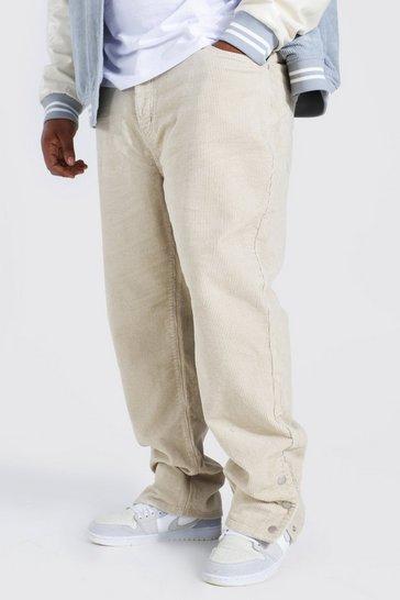 Stone beige Plus Straight Leg Cord Popper Hem Trouser