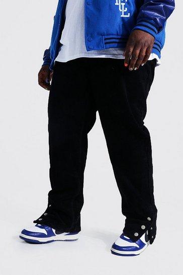 Black Plus Straight Leg Cord Popper Hem Trouser