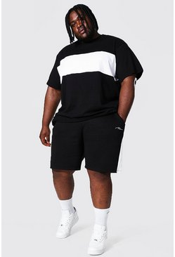 Black Plus Colour Block T-shirt And Short Set