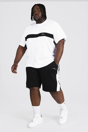 White Plus Man Script Colour Block Tee & Short Set