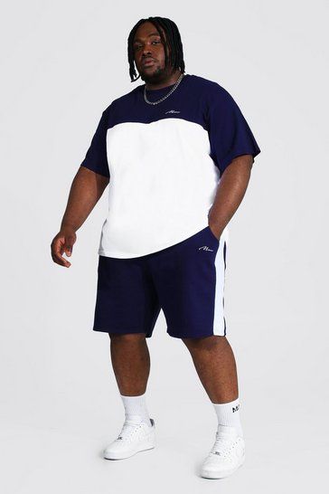 Navy Plus Colour Block Man T-shirt And Short Set
