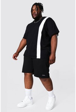 Black Plus Vertical Colour Block Tee And Short Set