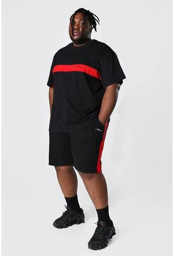 Black Plus Man Script Colour Block Tee & Short Set