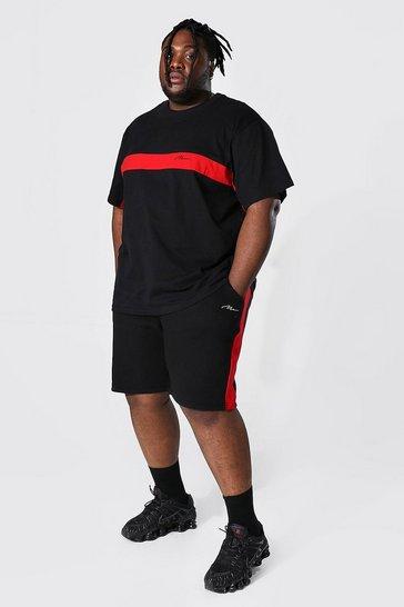 Black Plus Man Colour Block T-Shirt And Short Set