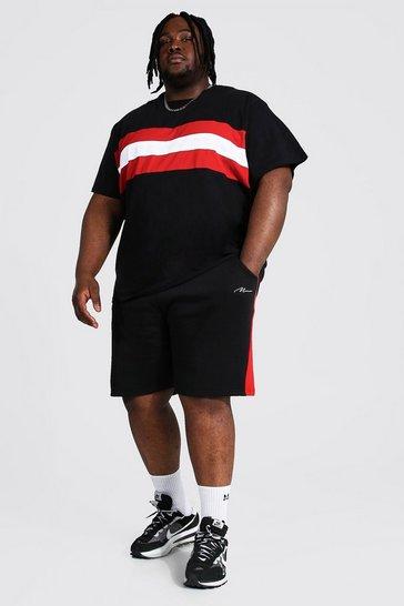 Black Plus Colour Block T-shirt And Short Set