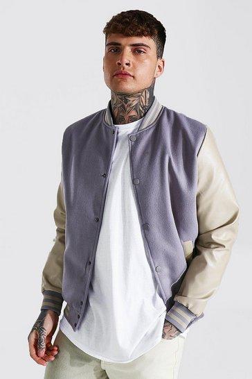 Grey Basic Melton And Leather Look Sleeve Bomber