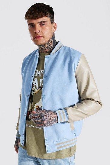 Blue Basic Melton And Leather Look Sleeve Bomber
