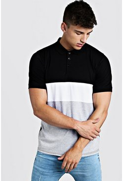 White Short Sleeve Colour Block Polo