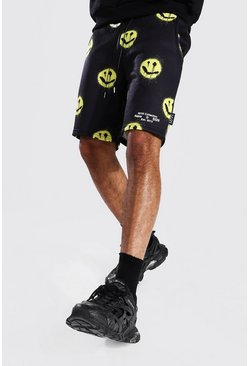 Black Regular Man Spray Face Jersey Shorts