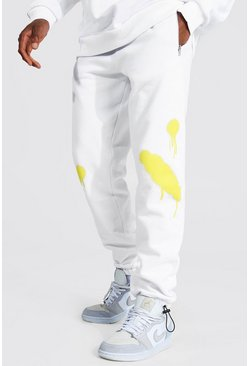 White Regular Man Spray Face Joggers