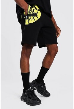 Black svart MAN Jerseyshorts med smiley