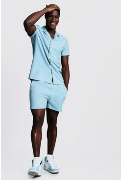 Duck egg blue Smart Revere Shirt & Short Set