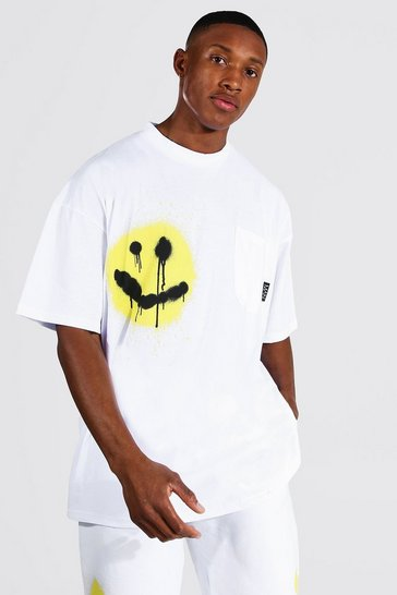 White Oversized Spray Face T-shirt