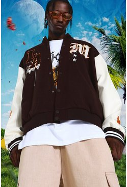 Chocolate brown Oversized La Varsity Jacket