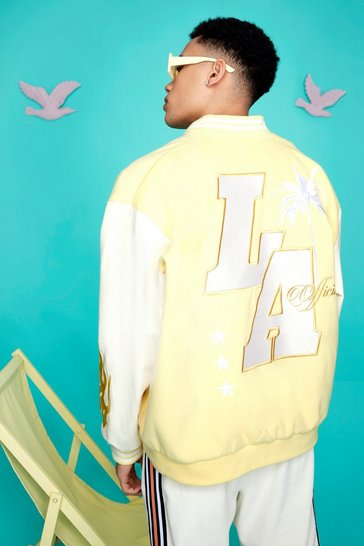 Yellow Oversized La Varsity Jacket