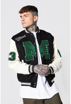 Black Official M Varsity Bomber