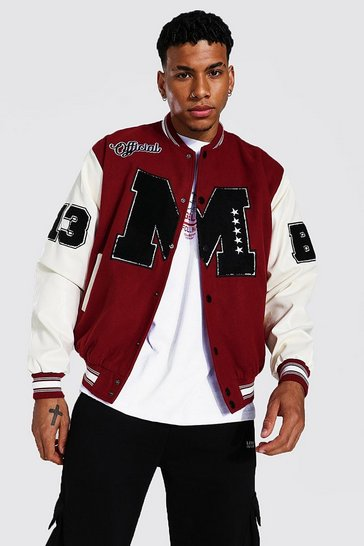 Red Official M Varsity Bomber