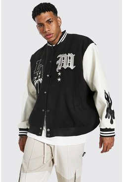 Black Oversized La Varsity Jacket