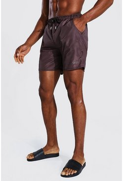 Chocolate Tonal Man Embroidered Mid Length Swim Short