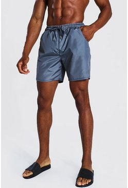 Light grey grey Tonal Man Embroidered Mid Length Swim Short