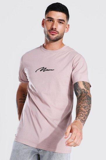 Bark brown Man Signature Roll Sleeve T-shirt