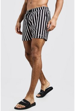 Black MAN Vertical Stripe Mid Length Swim Short