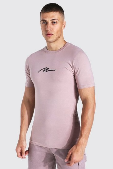 Bark brown Muscle Fit Man Signature Embroidered T-shirt