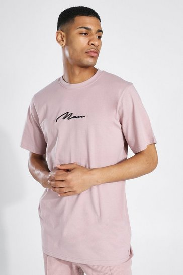 Bark brown Man Signature Longline T-shirt