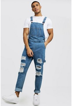 Mid blue Slim Fit Denim Dungarees With Distressing